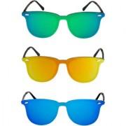 Sunglasses Combo Mirror Latest Design Rectangular Green Orange Blue Sunglasses For Men Women Girls boys