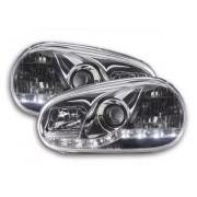FK-Automotive fari Daylight a LED con DRL look VW Golf 4 tipo 1J anno di costr. 98-03 cromati