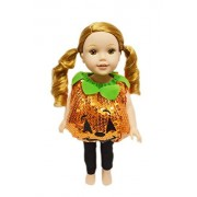 My Brittany's Sequin Pumpkin Outfit For American Girl Dolls Wellie Wishers