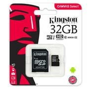 CARTÃO MEMORIA KINGSTON MICROSD 32GB CLASS10 + ADAPTADOR