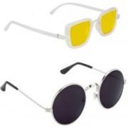 Pari & Prince Round, Rectangular Sunglasses(Yellow, Black)