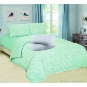 Set Lenjerie de pat Finet 2 persoane+Cadou 2 Perne 50x70 cm Albe Romstill Verde