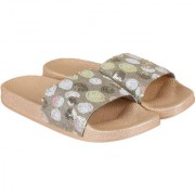 ZAVO Women's Brown/shine Casual Slippers or Flip-Flops