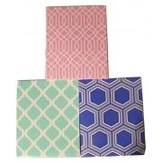 Carolina Pad Studio C 3 Folder Set ~ Pattern Play (Pink and White Maze, Green and White Design, Blue with White Hexagon)