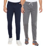 Cliths Men's Pack Of 2 Solid Cotton Sports Jogger (Dark Grey Navy Blue)
