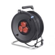 Prelungitor electric pe tambur de plastic 3 prize 40m cablu cauciuc 3x1,5 mm², pentru exterior IP44