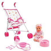 Mamatoy Mma35000 – Mama Mia Stroll Around Set, Baby Doll that Drinks and Pees, with Stroller Feeding Accessories