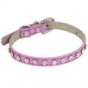 QT HOUSEWARE Collar de piel enrollada para perro o gato con hebilla de diamantes de imitación (XS, color rosa diamante)