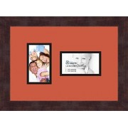 ArtToFrames Art to Frames Double-Multimat-774-693/89-FRBW26061 Collage Frame Photo Mat Double Mat with 2-3x5 Openings and Espresso Frame