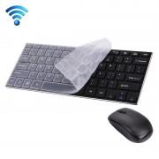 JK-903 draadloos 2.4 GHz Mini Toetsenbord met 78 toetsen en cover + draadloze optische Muis met ingebouwde USB ontvanger voor PC & Laptop (zwart)