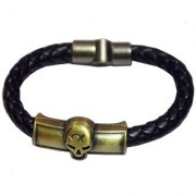 Men Style Head ID Interlocking Black And Gold Stainless Steel And Leather Round Bracelet For Men And Women