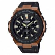 casio g-shock GST-S120L-1A resistente reloj solar para hombre - negro + oro rosa