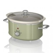 Oala electrica Slow cooker Swan SF17021GN, Retro, Capacitate 3.5 Litri, Vas ceramic