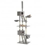 vidaXL szürke macskabútor szizál kaparófákkal 230-260 cm
