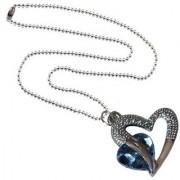 Men Style Love Heart Romanatic Light Blue CrystalSilver Ball Chain Silver Cubic Zirconia Heart Pendent