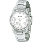 howdy Crystal Studded Analog White Dial Stainless Steel Chain Watch- for - Women's Girl's ss341