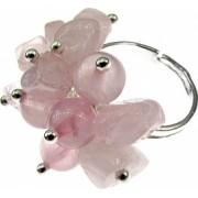 Inel aliaj reglabil cu pietre cuart roz GlamBazaar Reglabila cu Cuart roz Roz tip inel din aliaj metalic reglabil cu pietre naturale