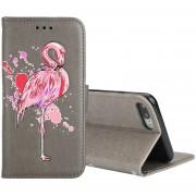 Para IPhone 8 Plus Y 7 Más Brillante Polvo Flamingo Imprimir Horizontal Flip Funda De Cuero Con El Titular Y La Cartera Y Ranuras Para Tarjetas Y Photo Frame (gris)