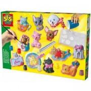 Детски комплект за отливки и оцветяване котки и кучета, SES, 080772