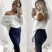 Suéter Hombro Oblicuo Manga Larga Irregular Dobladillo Pull-over Suelto Casual Mujer-Blanco