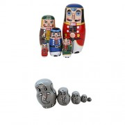 MagiDeal 10pcs Fashion Wooden Russian Nesting Doll Elephant Animal & Walnut Soldier Painted Craft Nested Toy Set