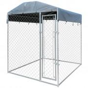 vidaXL Дворна клетка за кучета с покривен навес, 2x2x2,4 м