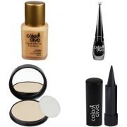 Color Diva Forsted Foundation Compact Powder Kajal Black Eyeliner