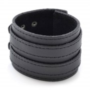 Collin Rowe Bracelet en cuir noir à double renfort