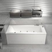 Vasca da bagno idromassaggio rettangolare Mambo Pool 180x80 cm sinistra con pannelli bianco