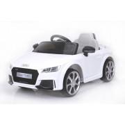 Mașinuță electrică pentru copii Audi TT, Albă, Licență Originală, cu Baterii, Uși care se deschid, Scaun din Piele, 2x Motoare, Baterie de 12 V, Telecomandă 2.4 Ghz, roți ușoare EVA, pornire Lină