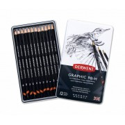Derwent Graphic Soft (Sketching) 12 Potloden 9B tot H in een blik