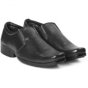 Bxxy Men's Black Faux Leather Office Wear Moccasin Formal Slip-on Shoes