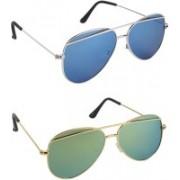 Pogo Fashion Club Cat-eye, Aviator Sunglasses(Blue, Golden, Green)