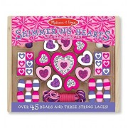 Melissa & Doug Shimmering Hearts Wooden Bead Set, Multi Color