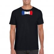 Bellatio Decorations Zwart t-shirt met Frankrijk vlag strikje heren