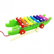 zhenyu Crocodile Shaped Knocking on Piano Xylophone Baby Kids Wooden Toddler Learning Education Musical Toy