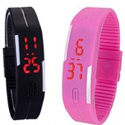Combo for Digital Black and Pink Dial LED Watch