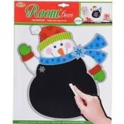 Merkloos Kerst decoratie sneeuwpop krijtbord sticker 31 x 38 cm