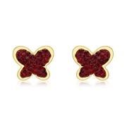 Cercei aur 9ct fluturas zirconiu rosu