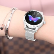 KW10 IP68 Waterproof Bluetooth Heart Rate/Sleep Monitor Smart Watch with Stainless Steel Strap for Women - Silver