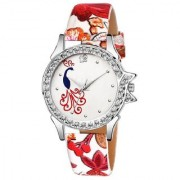 Lava Creation Stylish Red Peacock Rose Design With Round Dial Girls Wrist Watch For Women(315-white red rose mor dial)
