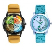 3D Round Art With Lite Green Peacock Feathers Couple Casual Analogue SCK Wrist Watch