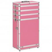 vidaXL rózsaszín alumínium sminkbőrönd