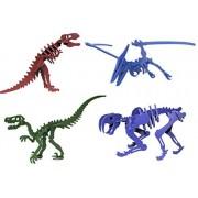 Rebl LLC Dinosaurs 3D Miniature Puzzles Bundle Set of Tyrannosaurus Rex, Velociraptor, Pterodactyl, Smilodon - for Boys, Party Favors, Birthdays, Holidays & More