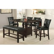 6 pc Arenth collection espresso finish wood counter height table with faux marble top dining table set