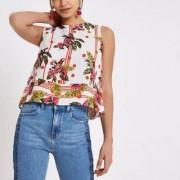River Island Womens Cream parrot print tank top - Size 40 (EU)