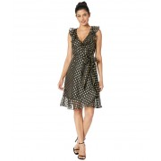 Donna Morgan Metallic Dot Dress w Blouson Sleeve BlackGold Multi