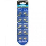 Raymax Batteries Batterie a bottone Alcalina LR60 LR621 364 AG1 (set 10 pz)