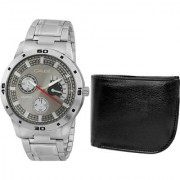 Crude Combo of Grey Dial Watch-rg706 With Black Leather Wallet