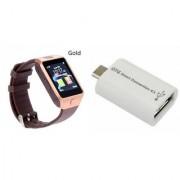 Zemini DZ09 Smart Watch and Smart OTG for SAMSUNG GALAXY CORE PRIME 4G(DZ09 Smart Watch With 4G Sim Card Memory Card| Smart OTG)